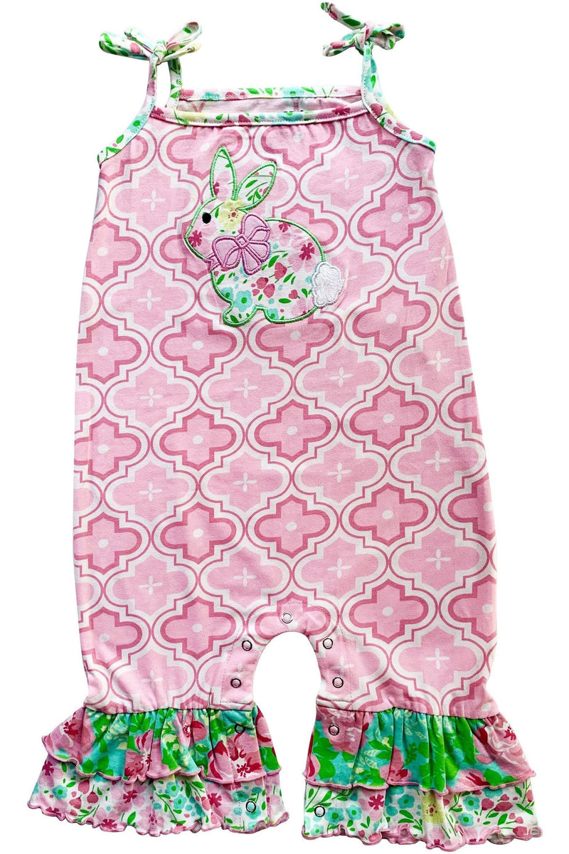 AnnLoren Easter Bunny Rabbit Spring Floral Baby Girls' Romper Toddler Jumpsuit Sizes 3M - 24M - Himelhoch's