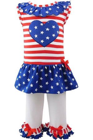 AnnLoren Big Little Girls' 4th of July Star Heart Tunic Leggings Toddler Holiday Clothing - Himelhoch's