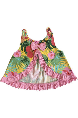 AnnLoren Baby Girls Swing Tank Top Tropical Hawaiian with Bow And Ruffle Trim Sizes 3M - 6 yrs - Himelhoch's