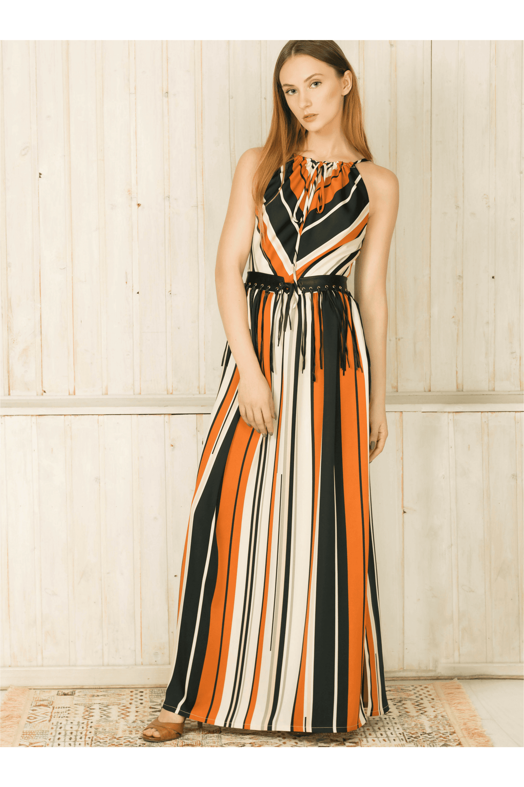 Sleeveless Striped Maxi Strap Dress - Himelhoch's