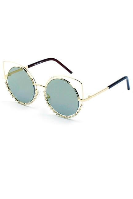 HOLLAND | A21 - Designer Pearl-Studded Cut-Out Cat Eye Princess Sunglasses
