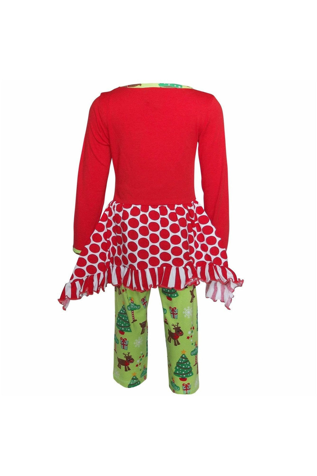 AnnLoren Girls Christmas Reindeer Tunic and Holiday Legging Set - Himelhoch's