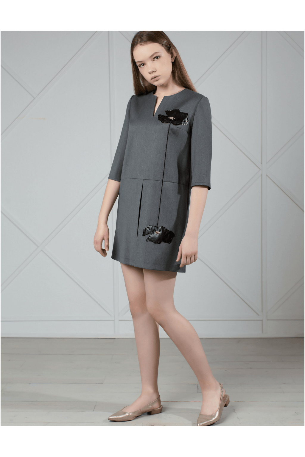 Gray wool mini dress with leather appliqué - Himelhoch's