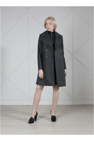 Gray double-breasted wool coat - Himelhoch's