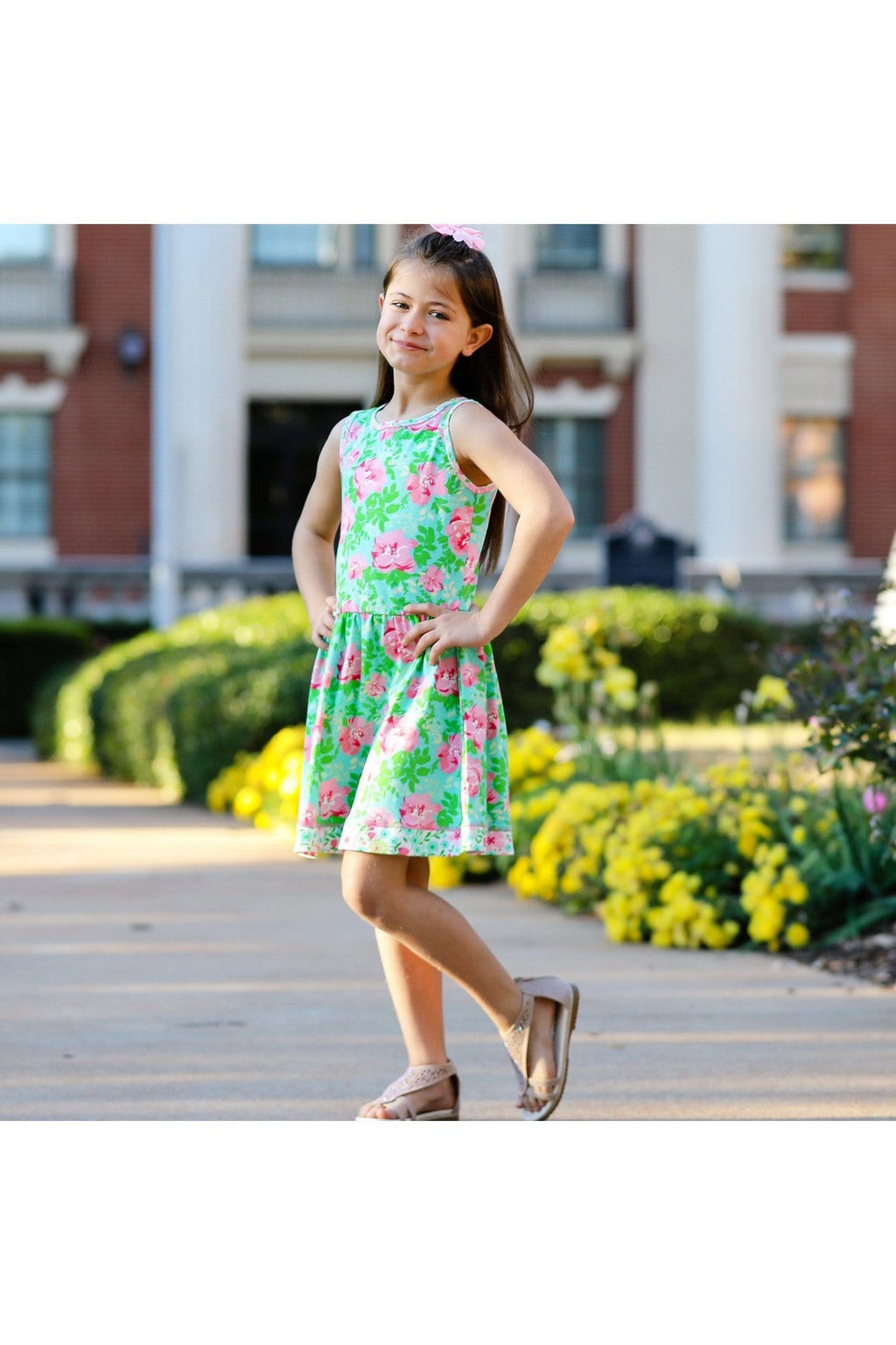 AnnLoren Little & Big Girls Spring Easter Floral Roses Sleeveless Dress Boutique Clothing Sizes 2/3T - 11/12 - Himelhoch's