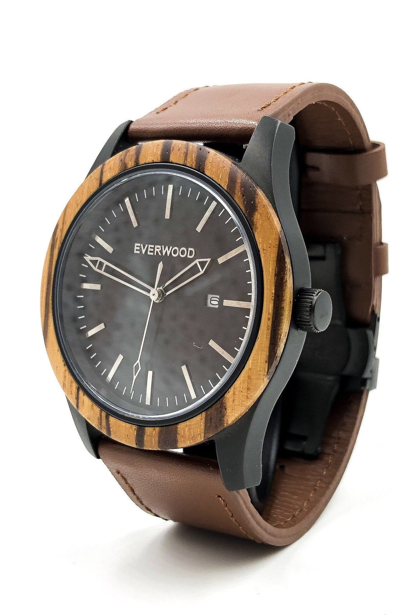 Inverness | Zebrawood | Brown Leather - Himelhoch's