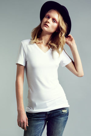 The Jamie Short Sleeve Fitted V-Neck - Himelhoch's