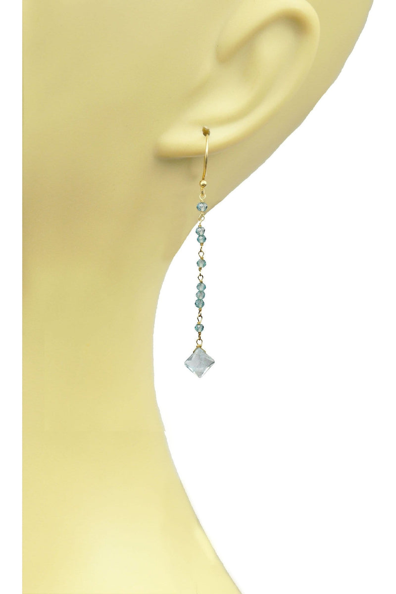 Aquamarine Linear Vermeil Earrings - Himelhoch's