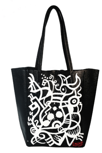 Hand Painted Cascardo Tote Bag (Grey) - Himelhoch's