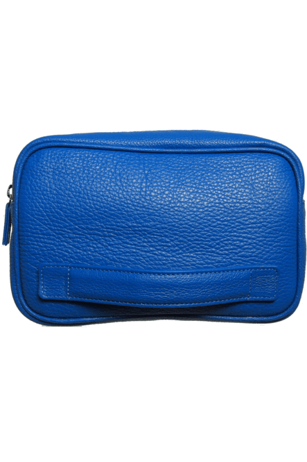 Pebbled Leather Dopp Kit Blue - Himelhoch's