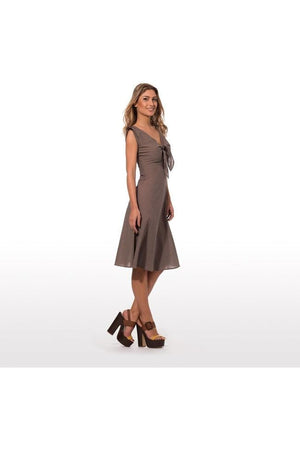 elegant summer dress with epaulettes in pure cotton in solid color  with knot in the front 010 - Himelhoch's