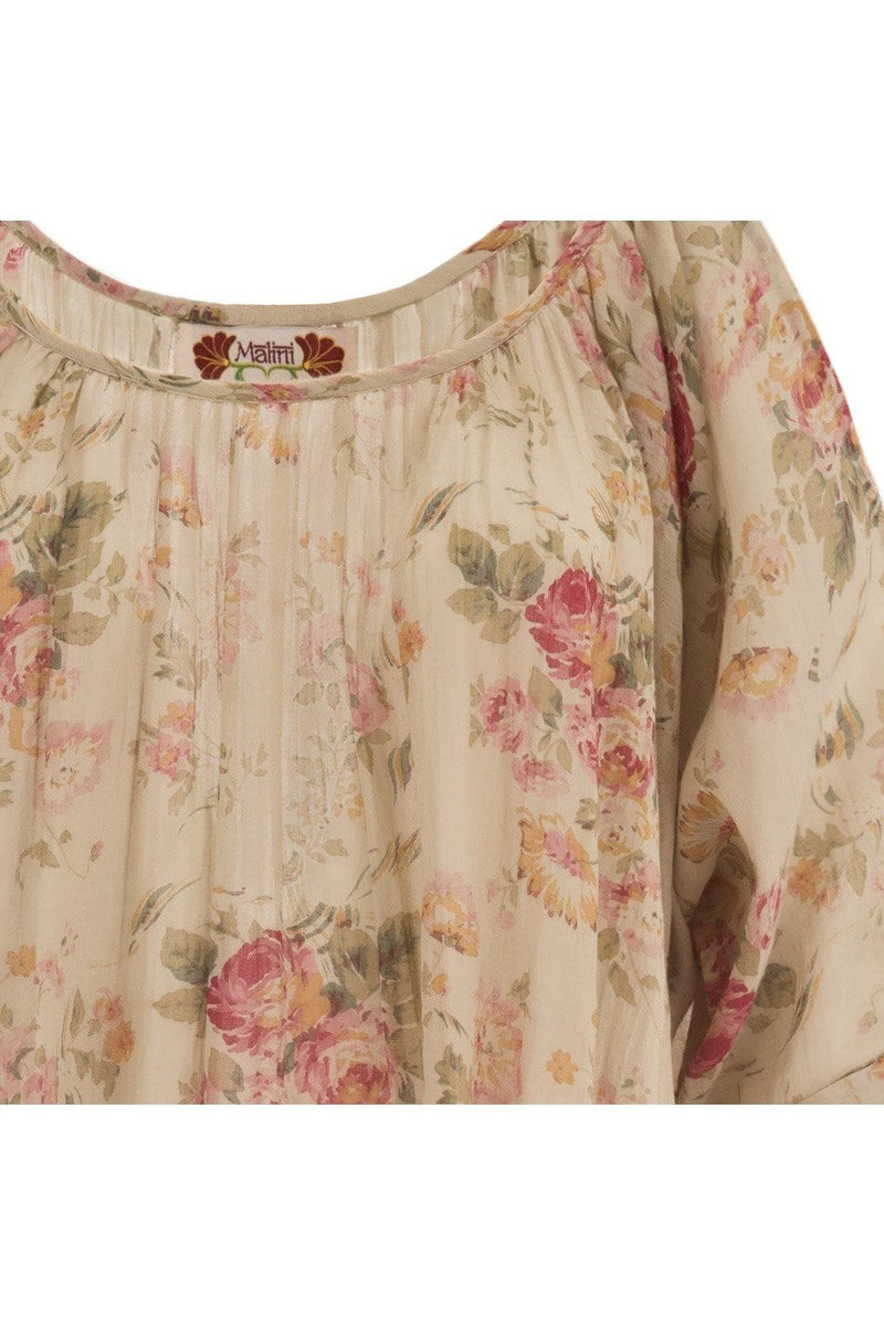 elegant summer top with wide collar half sleeves pure cotton with floral shabby chic style print 018 - Himelhoch's
