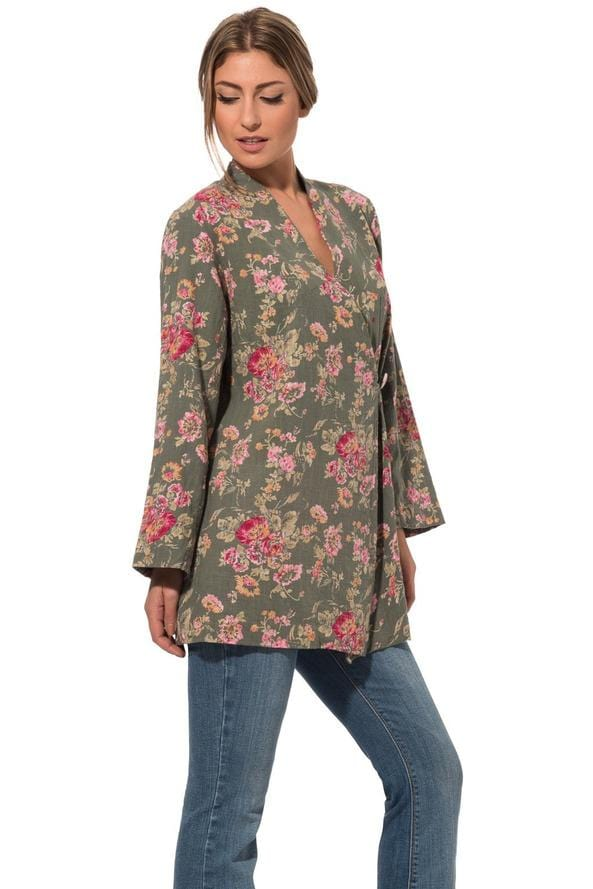 Summer light jacket in pure cotton with floral shabby chic style print 019 - Himelhoch's