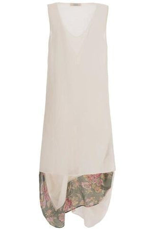 Elegant summer dress sleevless in pure cotton in solid color ecru white with a double drapery 008 - Himelhoch's