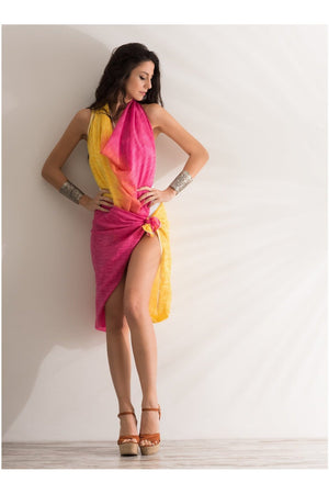 Sarong Pareo pink yellow printed 100% pure cotton - Himelhoch's