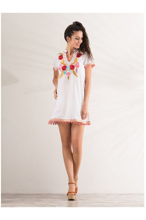 Short sleeves tunic white with embroidery - Himelhoch's