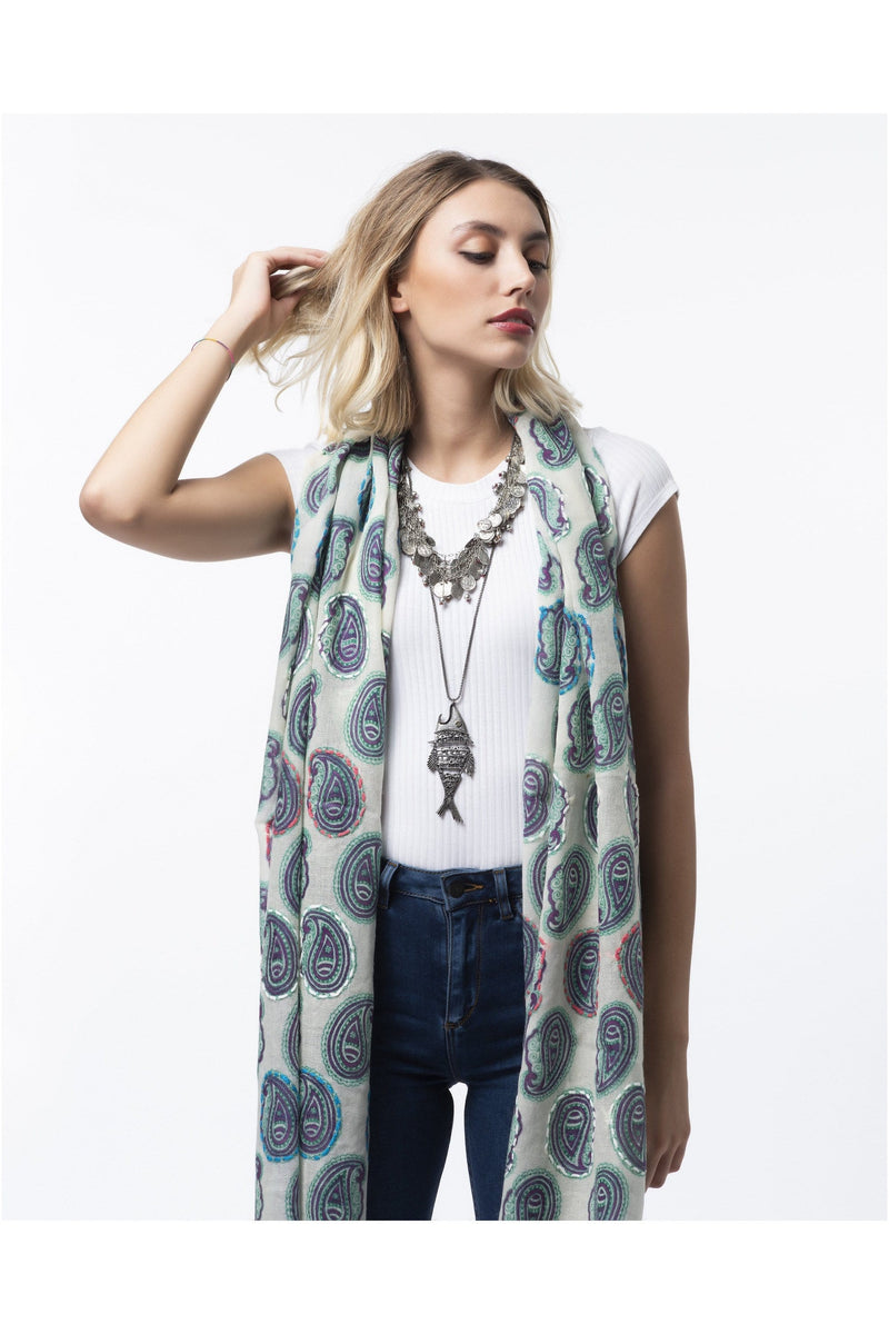 Wool embroidered scarf blue paisley - Himelhoch's