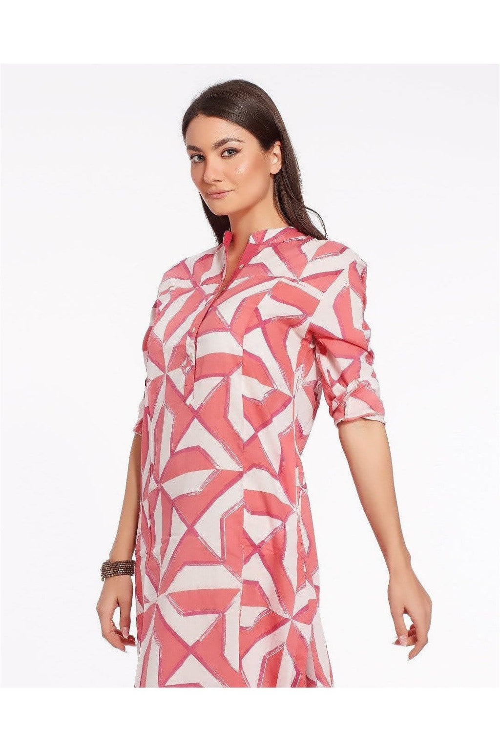 Long summer dress with geometrical print made in light cotton - JODHPUR - Himelhoch's