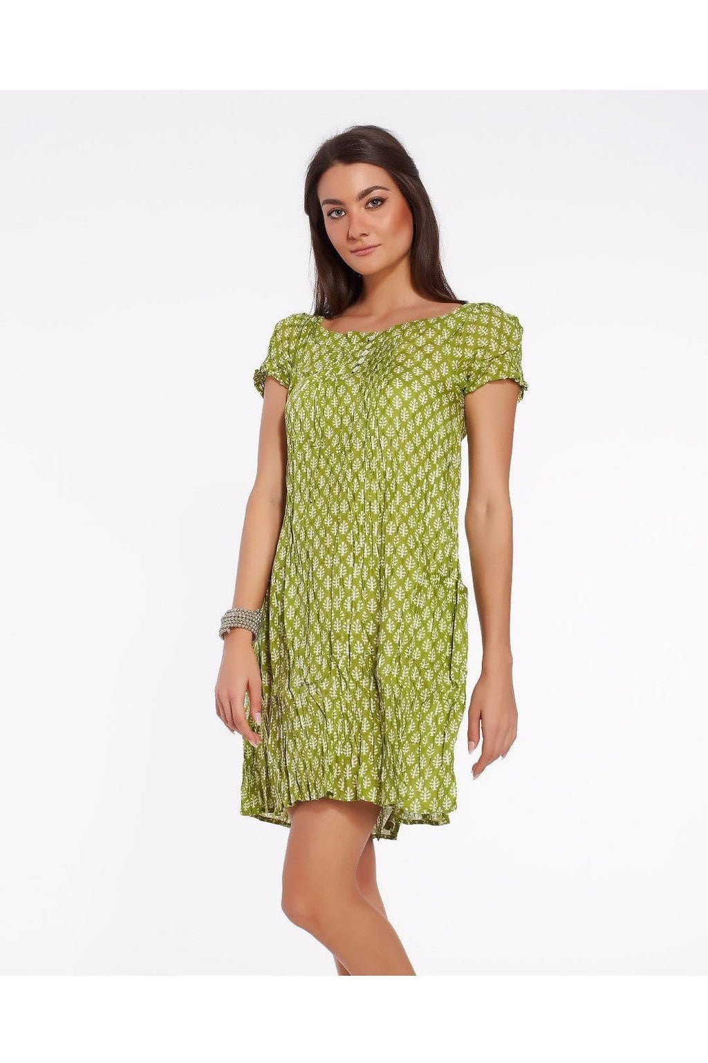 Short summer dress for women in light soft cotton, light green color with minimal design print - Himelhoch's