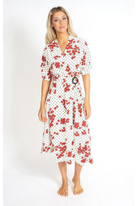 Cherry and  Polka Dot Wrap Style Dress - Himelhoch's