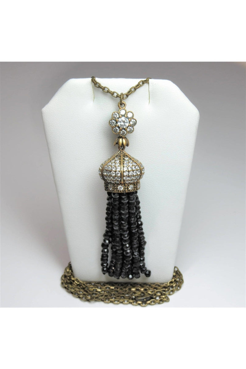 Austrian Crystal Pendant with Faceted Black Onyx Tassel - Himelhoch's