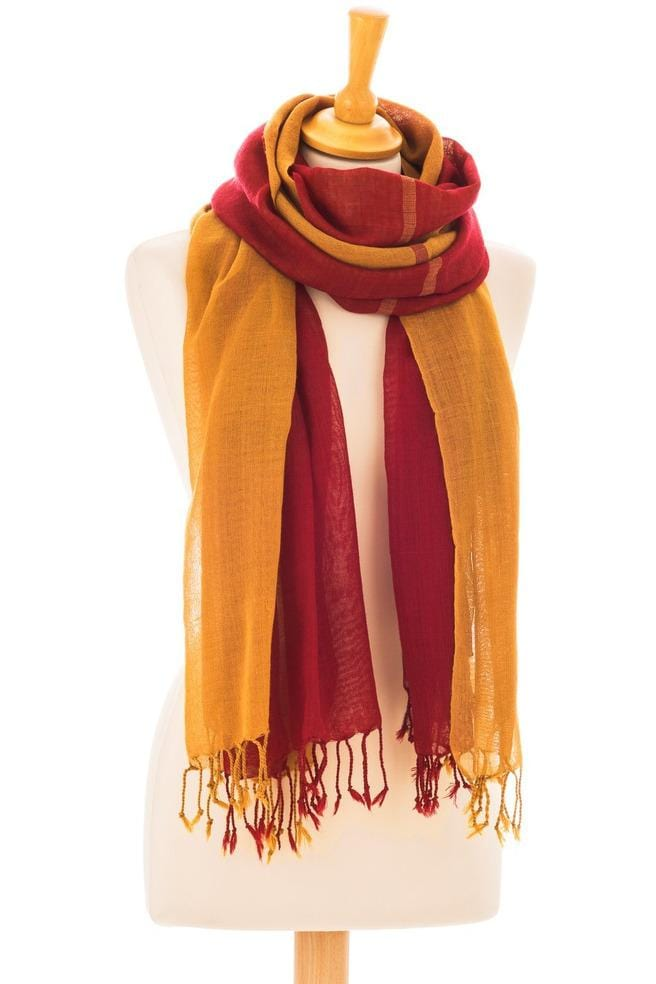 Wool Scarf Classic Double Red - Himelhoch's