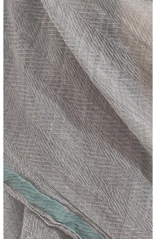 Misty Grey light blue line pure wool scarf - Himelhoch's