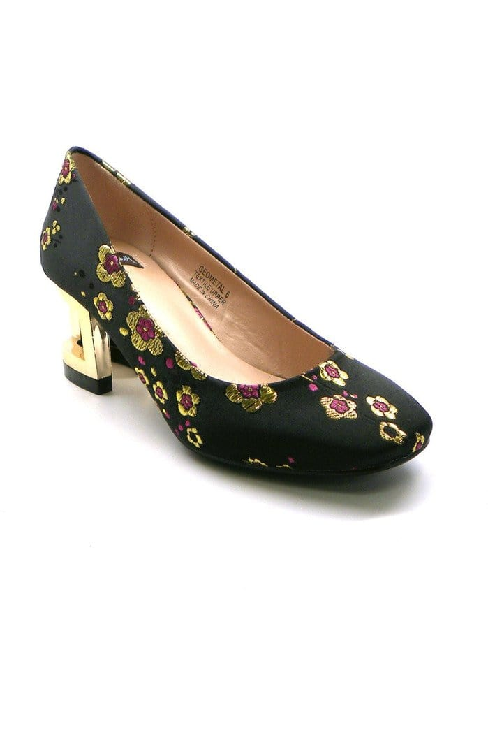 Embroidered Brocade Pump With Metallic Heal