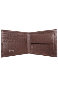 Pebbled Leather Billfold With Coin Pocket Brown - Himelhoch's