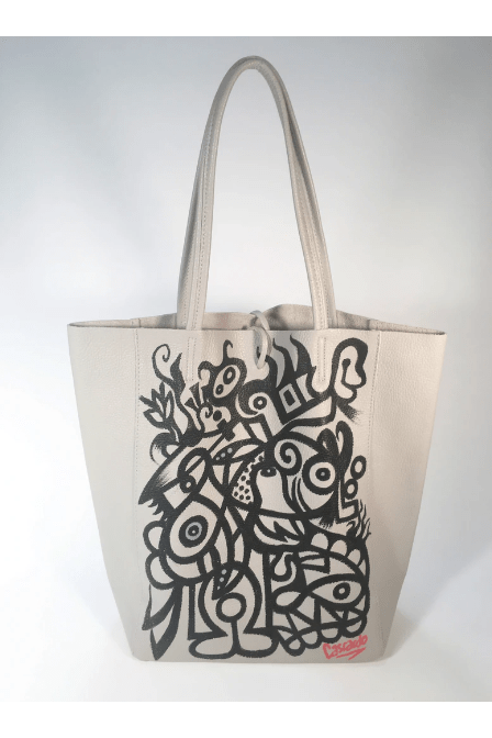 Hand Painted Cascardo Tote Bag (Grey 2) - Himelhoch's