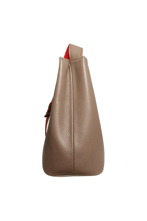 Shoulder Hobo Tote Taupe-Red - Himelhoch's