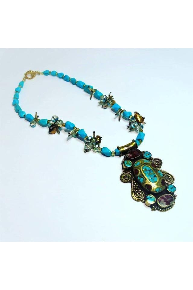 Brass Tibetan Pendant Inlaid With Coral & With Turquoise, Crystals, & Freshwater Pearls - Himelhoch's