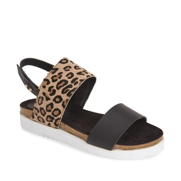 Leopard or Zebra Print Sandals with Side Button - Himelhoch's