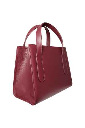 Large Pebbled Calf Leather Tote Bordeaux - Himelhoch's
