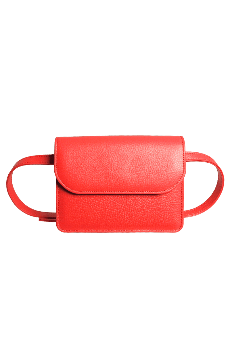 Pebbled Calf Leather Belt Pouch Coral - Himelhoch's