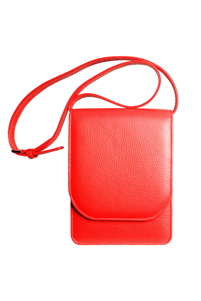 Pebbled Calf Leather Mini Bag Coral - Himelhoch's