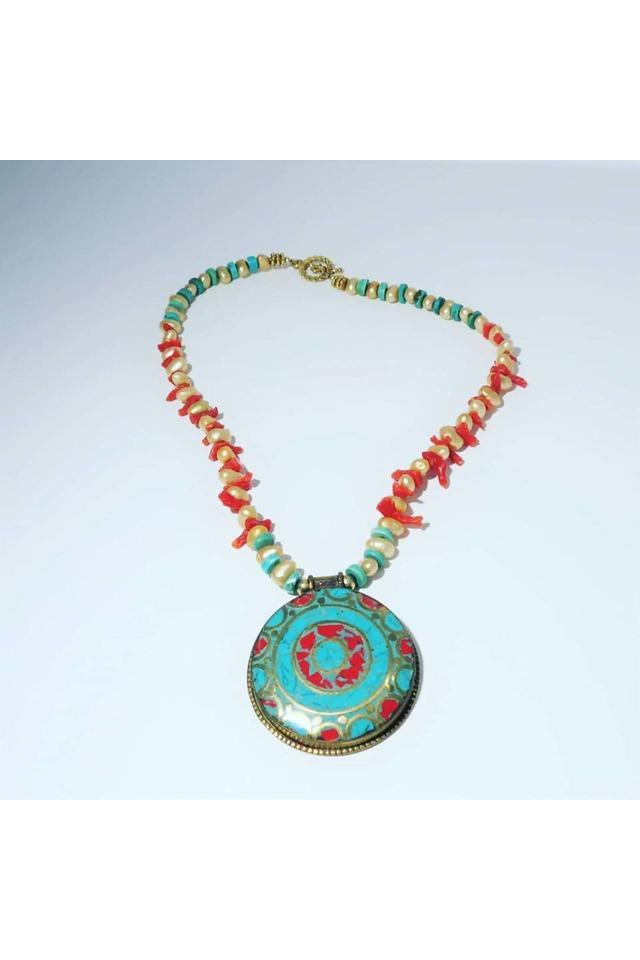 Tibetan Pendant with Freshwater Pearls, Turquoise and Coral - Himelhoch's