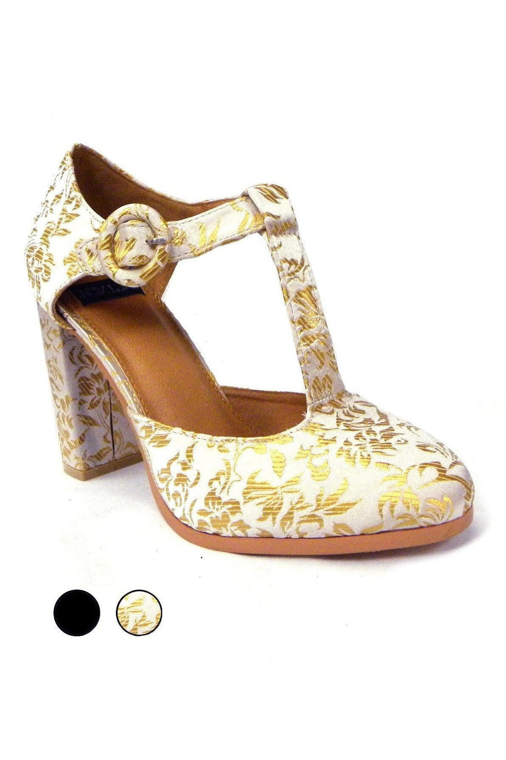T-Strap Heels in Gold Brocade or Black Leather