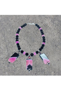 Black and Pink Agate Necklace - Himelhoch's