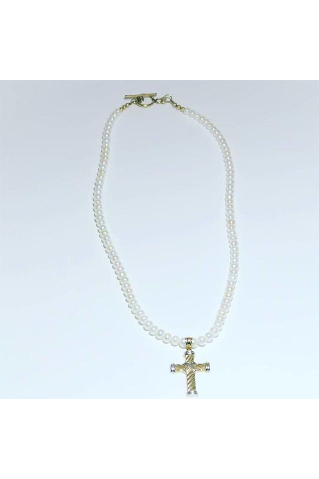 Gold Cross and Pearl Necklace - Himelhoch's