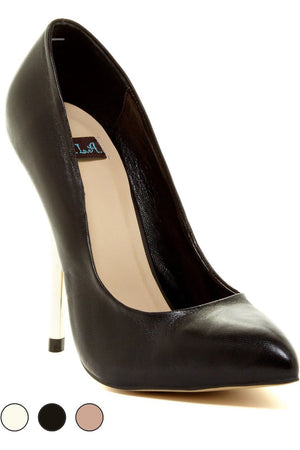Leather Dress Pumps With Metallic Heel - Himelhoch's