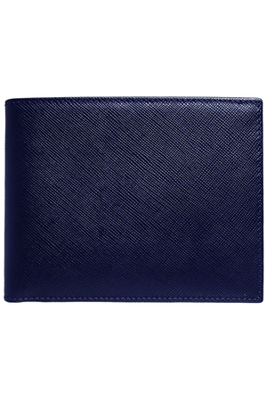 8 Credit Card Saffiano Billfold Blue - Himelhoch's