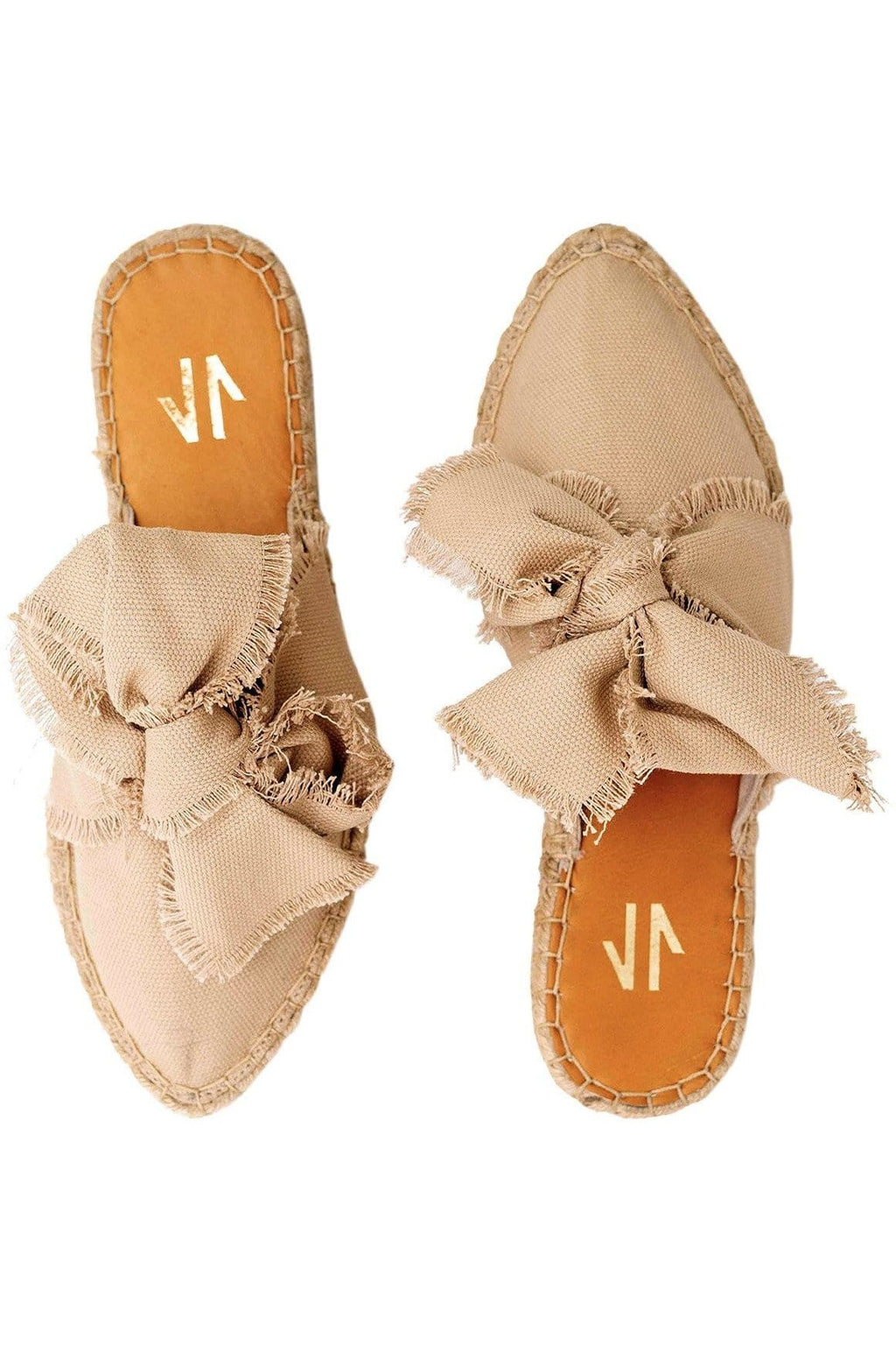 Columbian Leather and Textile Mules in Beige - Himelhoch's