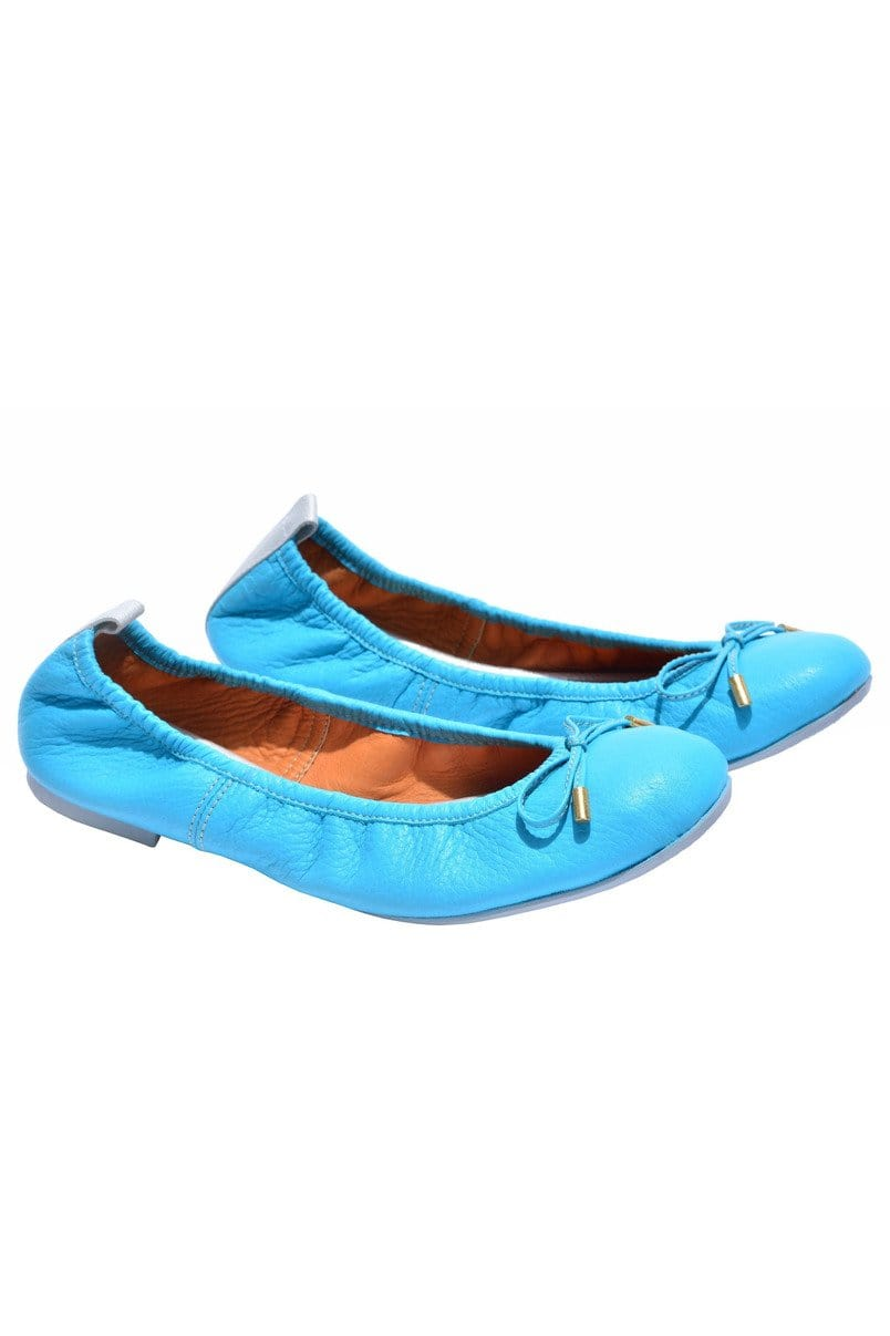 Columbian Leather Ballerina Flats in Turquoise - Himelhoch's