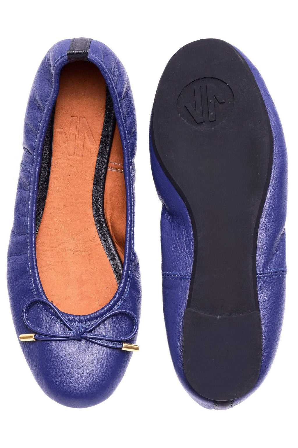Columbian Leather Ballerina Flats in Blue - Himelhoch's