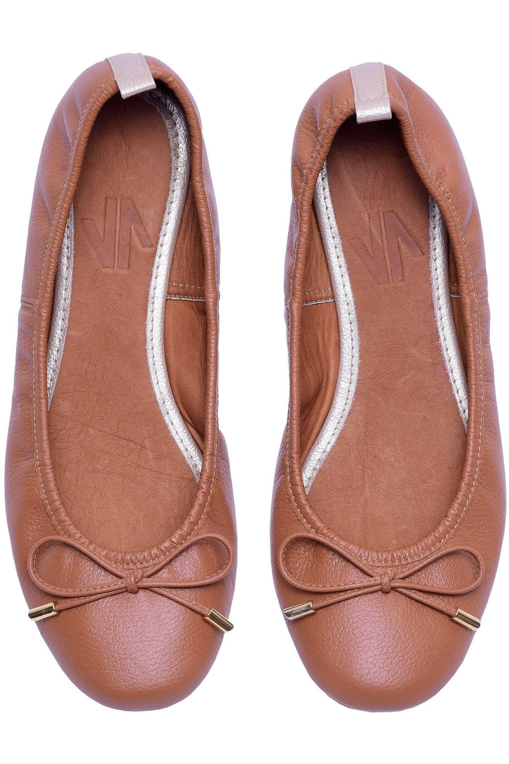 Columbian Leather Ballerina Flats in Brown - Himelhoch's