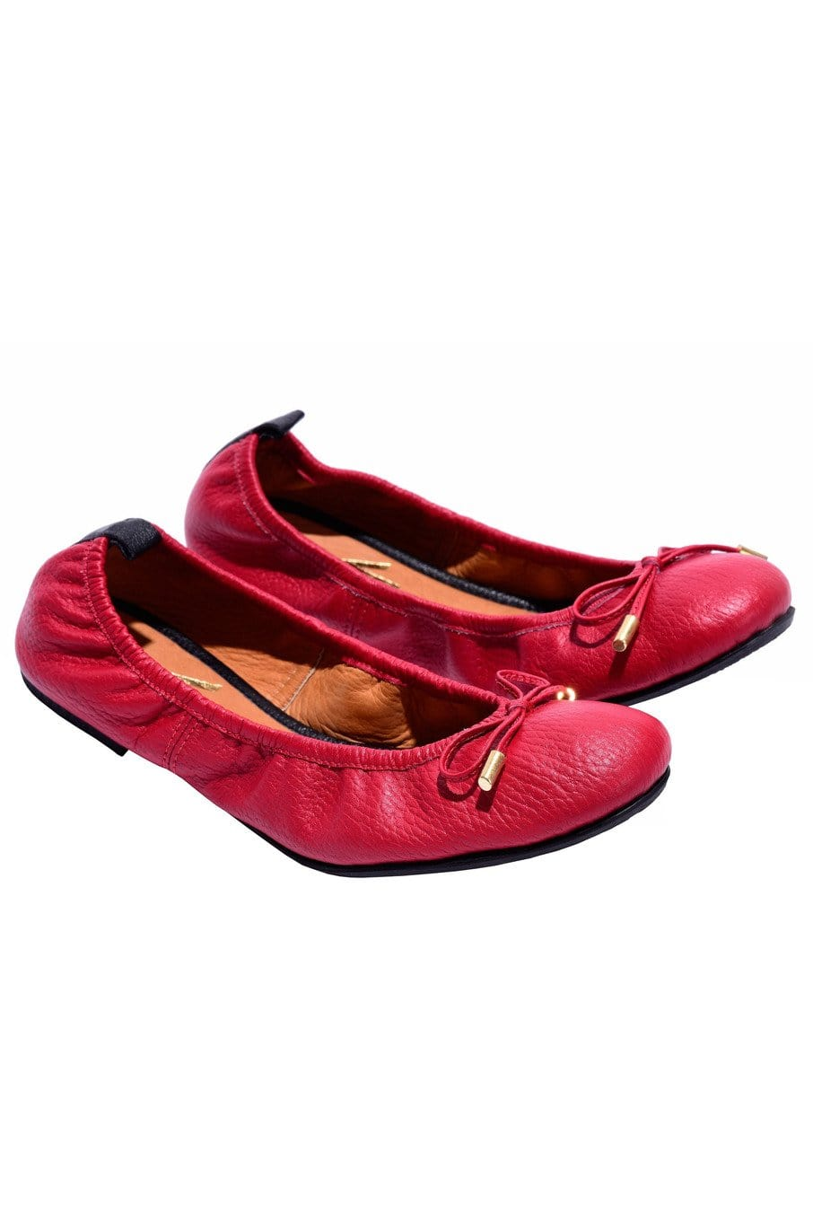 Columbian Leather Ballerina Flats in Red - Himelhoch's