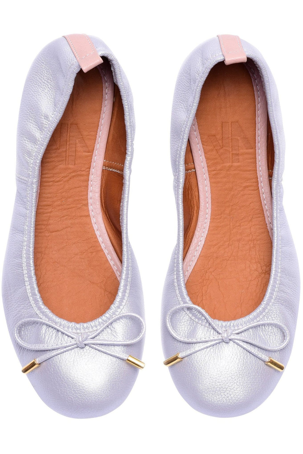 Columbian Leather Ballerina Flats in Silver - Himelhoch's