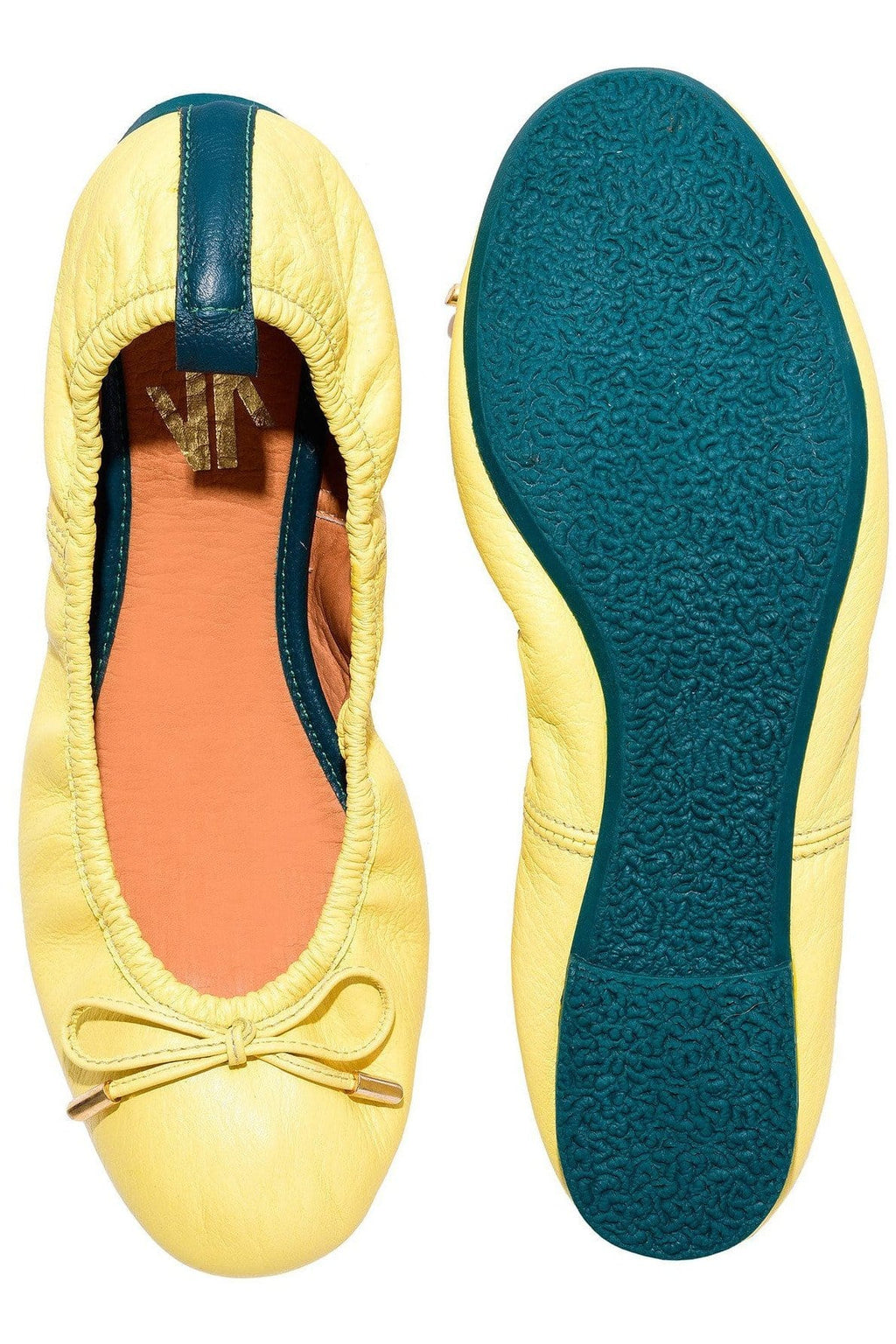 Columbian Leather Ballerina Flats in Yellow - Himelhoch's