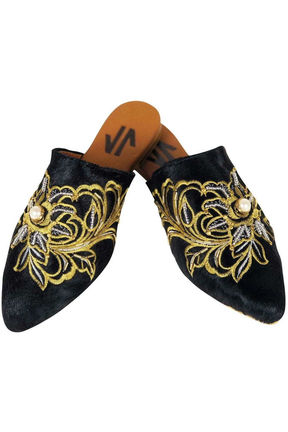 Columbian Leather Embroidered Mules - Himelhoch's